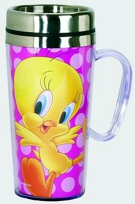 Looney Tunes Acrylic & Stainless Steel Travel Mug with Handle - Tweety Bird