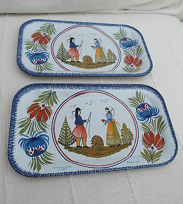 2 Vintage Faienceries De Quimper Metal Tray Massilly France