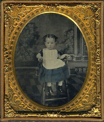 Ella Platt In Vintage High Chair Hand Colored Ambrotype