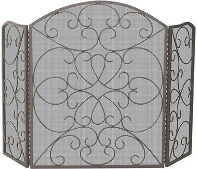 Uniflame® Arched 3-Panel Bronze Wrought Iron Fire Screen with Ornate Scrollwork