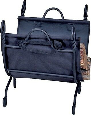 Uniflame® Black Wrought Iron Log Rack Wood Holder with Canvas Carrier W-1125
