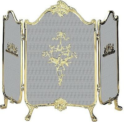 Uniflame® 3-Panel Fireplace Fire Screen with Solid Brass Frame