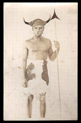 Real Photo Man With Nose Ring, Horn Head Dress & Native Spear.  Vintage Date ?