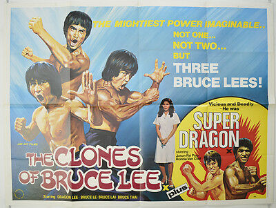 THE CLONES OF BRUCE LEE / SUPER DRAGON (1980) Original Cinema Quad Movie Poster