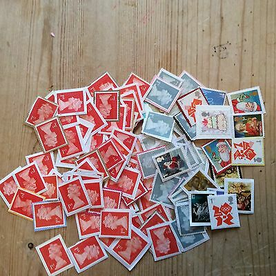 100 x 1st First Class Unfranked GB Stamps On Paper