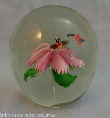Vintage Art Glass Paperweight Suspended Pink Flower w/ Flying Bees!