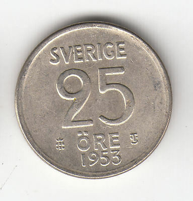 Sweden Silver 25 Ore 1953 Crown Ef+     377D        By Coinmountain