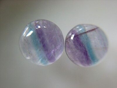 2 FLUORIT CABOCHONS  -  8 mm  -  4,20 ct.