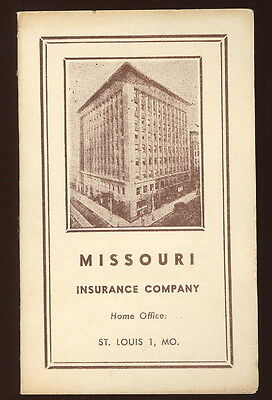 Small Cardboard Needle Packet, Missouri Insurance Co. St. Louis Advertising