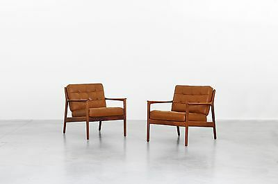 Mid Century Design Pair of Lounge Easy Chairs by Folke Ohlsson for DUX Danish