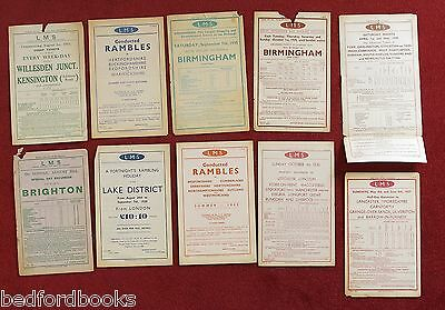 10 LMS Handbills Excursions Tickets, Cheap Tickets, Conducted Rambles 1931-1939