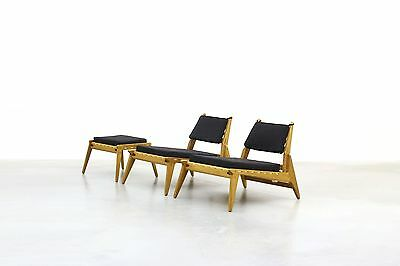 Pair of beautiful Lounge Hunting Chairs with Ottoman Mid Century Danish Design