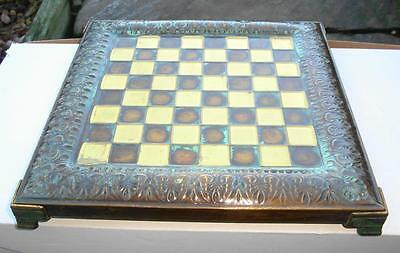 Superb Quality Rare Antique Vintage Small Bronze Brass Metal Chess Board