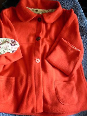 x M&S RED FLEECE JACKET/FLORAL LINED 6-7 YRS POCKETS/