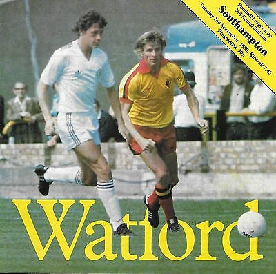 Football Programme with 9 Autographs WATFORD v SOUTHAMPTON Sept 1980 FLC