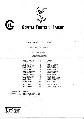 Football Programme CRYSTAL PALACE RESERVES v BARNET Mar 1992