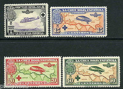 SPAIN 1926 Red Cross Airmail x4 Mint Hinged with Gum [N235
