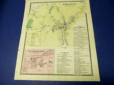 Antique 1870 map of Grafton center Ma. by Beers