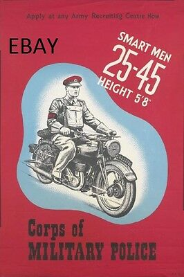 Ww2 Royal Military Police Motorcyclist Poster New A4 Print