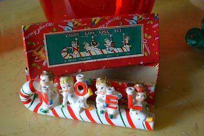 vintage Candy Kids Noel Set Candle holder Relco Japan Christmas ceramic in box