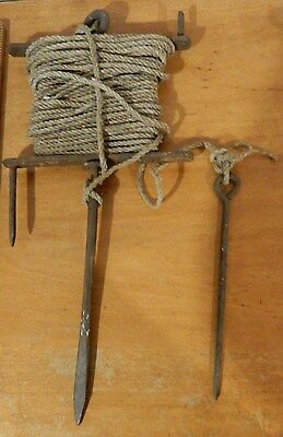 Antique / Vintage English 1920s Garden Line Layout Iron Reel Line & Pin # 2of4
