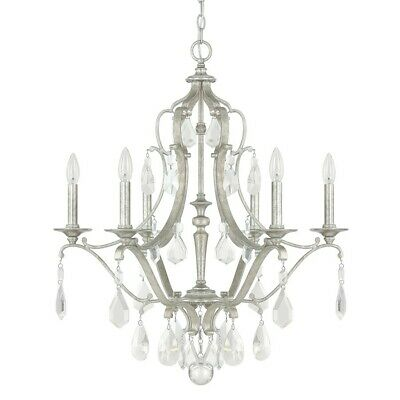 Capital Lighting Blakely 6 Light Chandelier, Antique Silver - 4186AS-CR