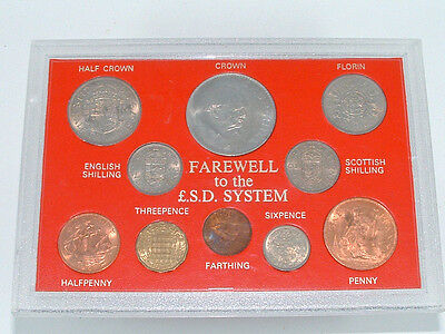 FAREWELL to the £.S.D. SYSTEM COIN SET ~ CASED.