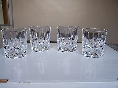 Set of 4 Large Crystal Whisky Tumblers / Glasses 8.2cm Tall