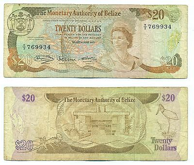 Belize Note 20 Dollars 01.06.1980 Serial T2 P 41