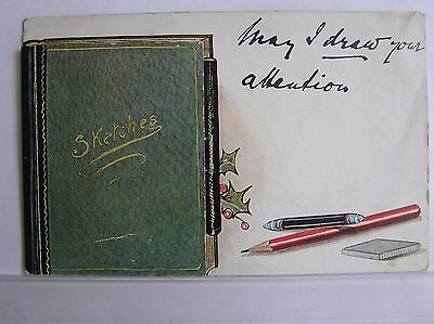 GREETINGS POSTCARD - BOOK OF SKETCHES WITH OPENING FLAP - c.1925