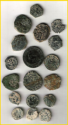LOT(C)  17 SPANISH  ANCIENT COINS OF DIFERENT TIMES-MEDIEVAL-COLONIAL-etc.
