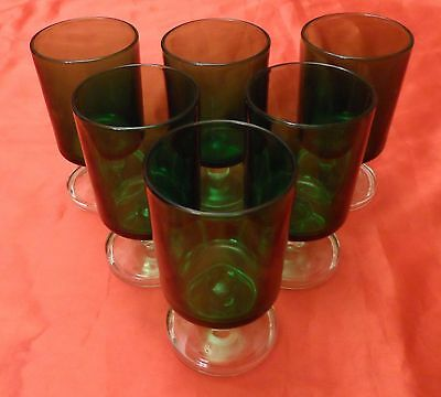 Six Small Green Glasses, 10 cm High,  All in Very Good Condition.