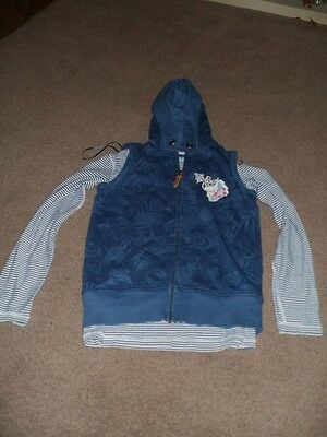Fatface gillet hoodie with matching blue striped long sleeve top aged 12-13 year
