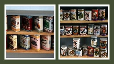 1:12 scale dolls house miniature labeled tins & packets 2 to choose from.