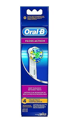 4 Genuine Braun Oral B Floss Action Replacement Tooth Brush Heads