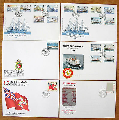 ISLE OF MAN 1993/97 SHIPS DEFINITIVE SET of 19 on 6 FIRST DAY COVERS