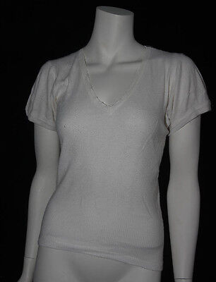 VINTAGE 1950s  LADIES WHITE DRALON  SHORT SLEEVED VEST (4054)
