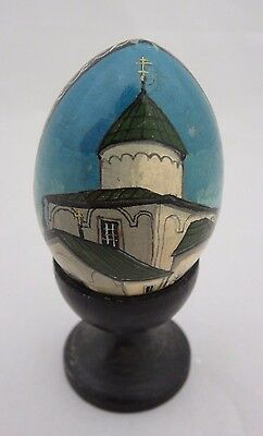 Lovely Small Vintage Painted  Wooden Egg Ornament With Stand