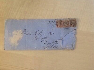 Great Britain Envelope With Three 1d Reds, Poor Condition.