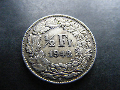Switzerland 1942 B Silver 1/2 Franc Coin
