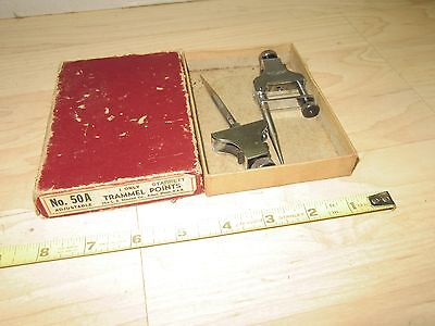 Vintage L S Starrett adjustable Trammel points No. 50A w/original box used