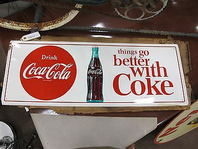 """Drink Coca-Cola Metal Advertisement Sign """"Things Go Better with Coke"""" 32"""" x 12"""""""