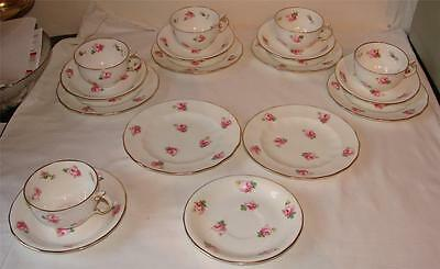 4 X PINK ROSES ROYAL CROWN DERBY Pattern 4202 CUP/SAUCER/PLATE-TRIOS
