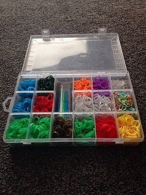 Box Full Of Approx 1500 Loom Bands Hooks And Clips Glow In The Dark Illuminous
