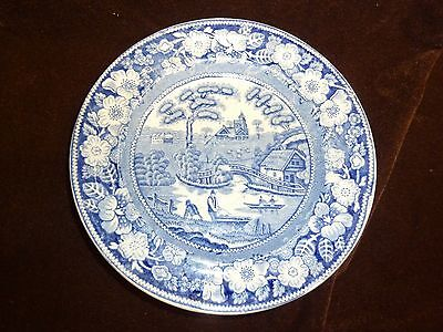 antique georgian cermaic plate blue + white transfer unmarked early plate 1800s