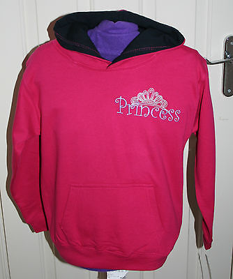 Embroidered hoodie Age 9-11 years - pink with black contasting hood lining