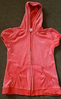 Pink Velour Short Sleeve Hooded Top Age 12-13 Years
