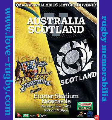2012 - Australia v Scotland Rugby Programme - Hunters Stadium Newcastle d