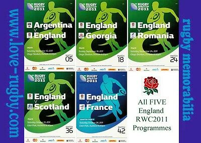 RWC 2011 ENGLAND All FIVE Rugby Programmes (Rugby World Cup) 5 Matches d