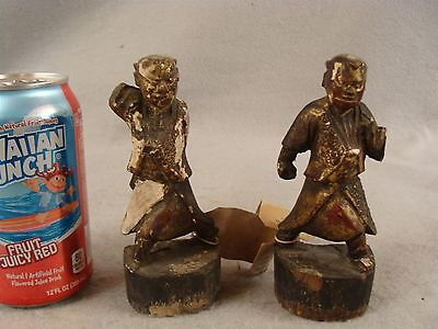 2 Antique Chinese carved lacquer gilt wood Idol attendant figures